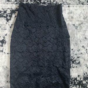 Black lace high waisted skirt
